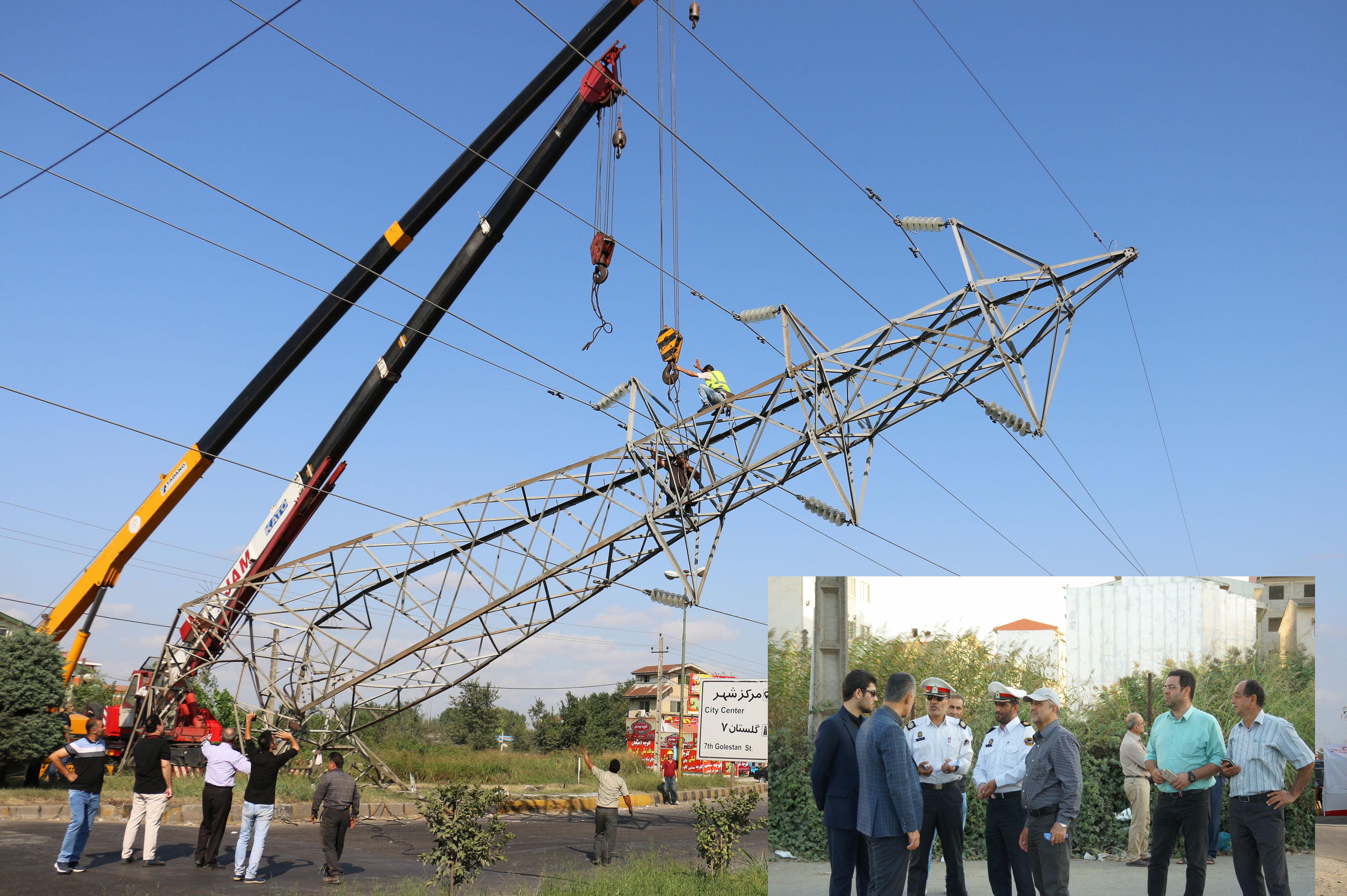 با تلاش کارکنان برق گیلان: خط دو مداره سیاهکلده به لاهیجان یک برقدار شد
