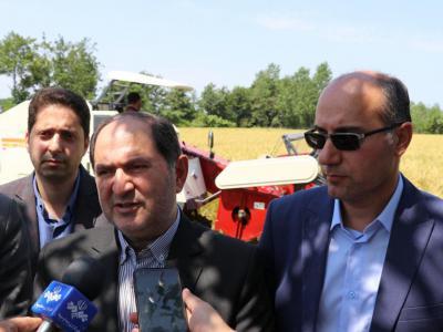 باحضور فرماندار رشت صورت گرفت ؛  نخستین برداشت مکانیزه برنج در روستای جیرسر چوکام خمام