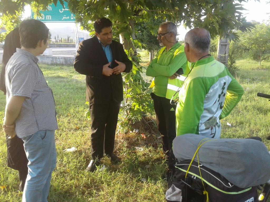 استقبال از دوچرخه سواران حامی جنگل های هیرکانی در اداره حفاظت محیط زیست شهرستان مرزی بندر آستارا