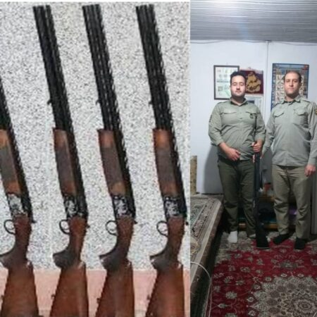 جدیت محیط بانان شهرستان صومعه سرا در برخوردبا شکارچیان غیرمجاز با کشف و ضبط ۱۱ قبضه سلاح شکاری